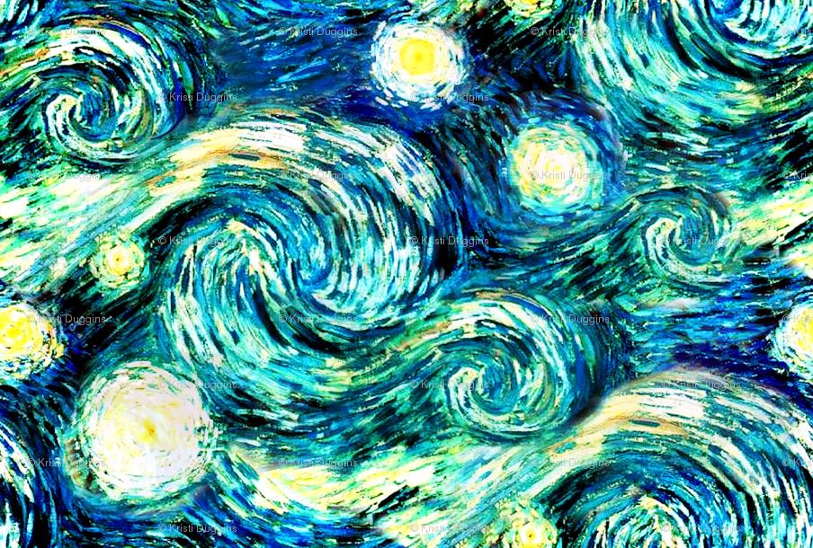 Starry Night Van Gogh {Sky Only - Small Version} wallpaper - bohobear - Spoonflower