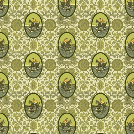 Chartreuse Hunt Medallions fabric by ragan on Spoonflower - custom fabric