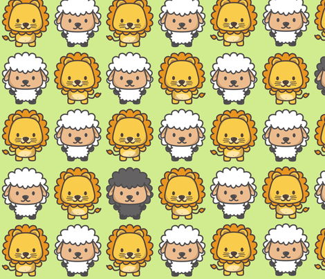 Lion and lamb fabric by sawabona on Spoonflower - custom fabric