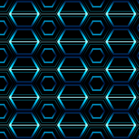 Blue Laser Hex fabric by synaptik on Spoonflower - custom fabric