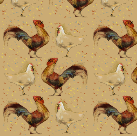 Hen and Rooster fabric by eclectic_house on Spoonflower - custom fabric