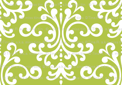 damask lime green