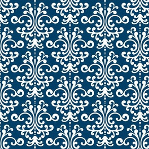 damask navy blue