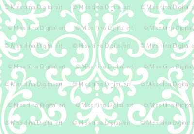 damask ice mint green
