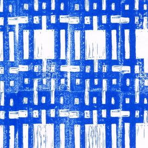Grid carving blue portrait