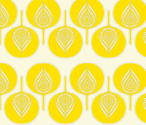 tree_hearts_bright_yellow_cream_lt_grey fabric by holli_zollinger on Spoonflower - custom fabric