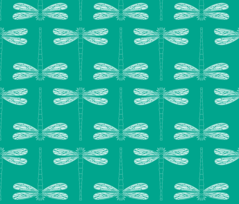 dragonfly directional in emerald fabric by chantae on Spoonflower - custom fabric