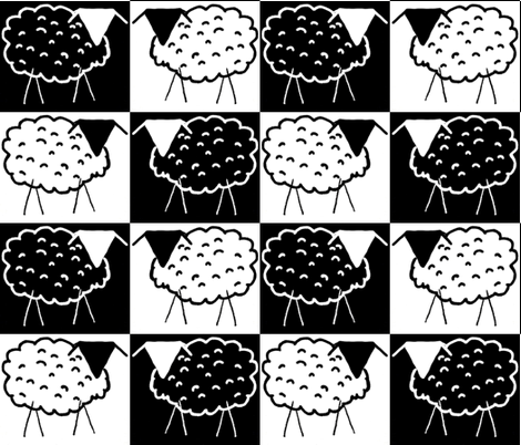Sheep Checkerboard fabric by anniedeb on Spoonflower - custom fabric
