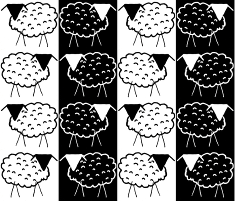 Sheep Stripes in Black and White fabric by anniedeb on Spoonflower - custom fabric