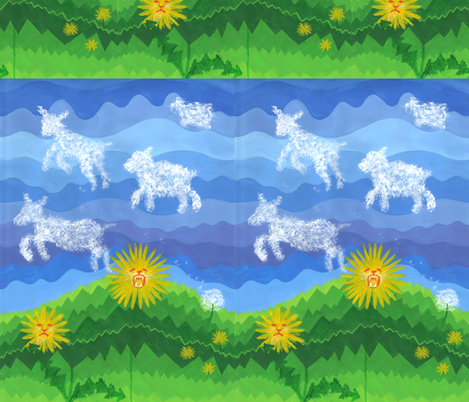 Dandy Lions and Lambs fabric by thecameronquinn on Spoonflower - custom fabric