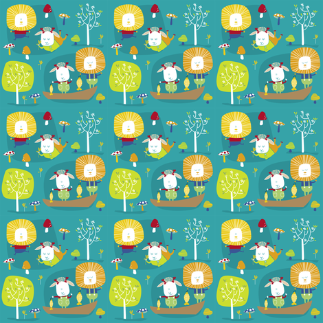 lambs and lions adventure fabric by laurawrightstudio on Spoonflower - custom fabric