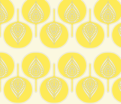 tree_hearts_light_yellow_cream_dk_grey fabric by holli_zollinger on Spoonflower - custom fabric