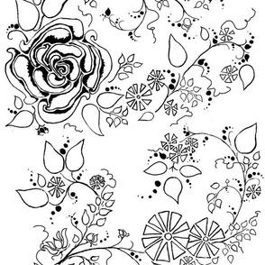 Black & White Simplified Chintz Rose