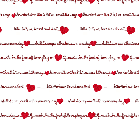Love Poems Valentine  fabric by cison on Spoonflower - custom fabric