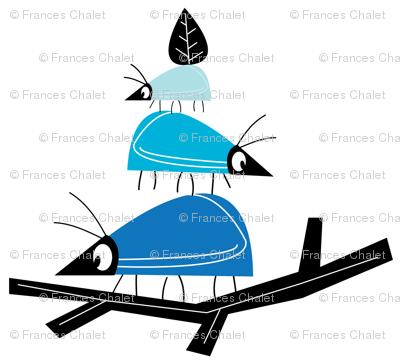 Balancing beetles in blue. Small.