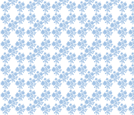 Swedish Rose Trellis in Blueberry Blue fabric by lilyoake on Spoonflower - custom fabric