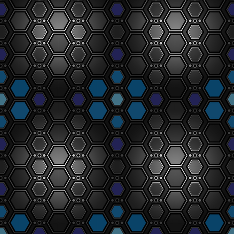 Hex Blues fabric by synaptik on Spoonflower - custom fabric