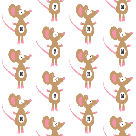 M is for Miss Mouse fabric by halfpinthome on Spoonflower - custom fabric