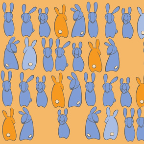 """who me?"" bunnies in cornflower & mango"