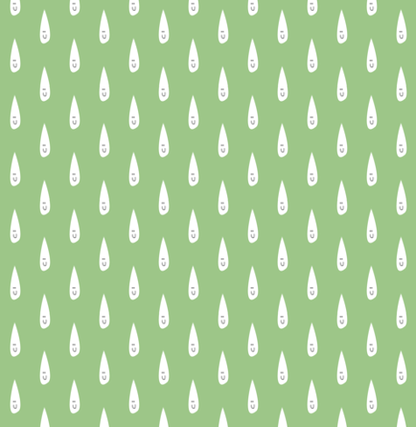 Happy Raindrops on Green. fabric by halfpinthome on Spoonflower - custom fabric