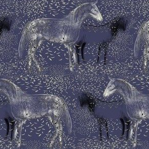 Horses and Silvery leaves 2