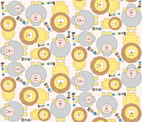 Lion vs Lamb fabric by jlwillustration on Spoonflower - custom fabric