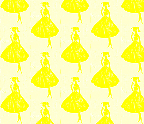 Pretty in Yellow Power fabric by bettieblue_designs on Spoonflower - custom fabric