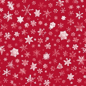 photographic snowflakes on crimson (large snowflakes)