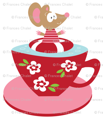 Tea cup Mouse on White.