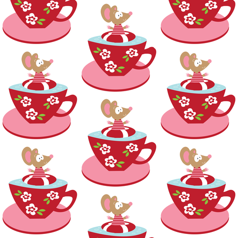 Tea cup Miss Mouse 2 on White. fabric by halfpinthome on Spoonflower - custom fabric