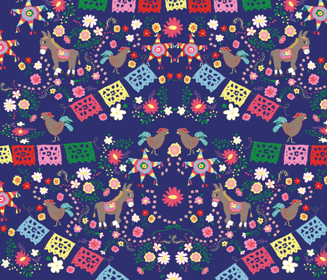 fiesta ©2012 Jill Bull fabric by palmrowprints on Spoonflower - custom fabric