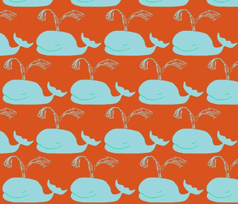 Big Blue Whales ORANGE fabric by bettieblue_designs on Spoonflower - custom fabric