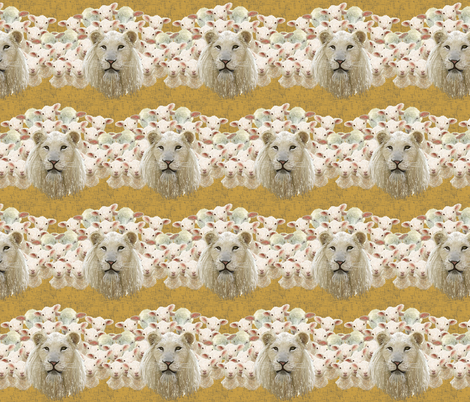 Lambs led by a lion by Su_G fabric by su_g on Spoonflower - custom fabric