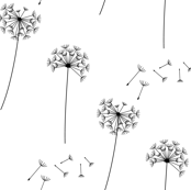 black + white blowing dandelions