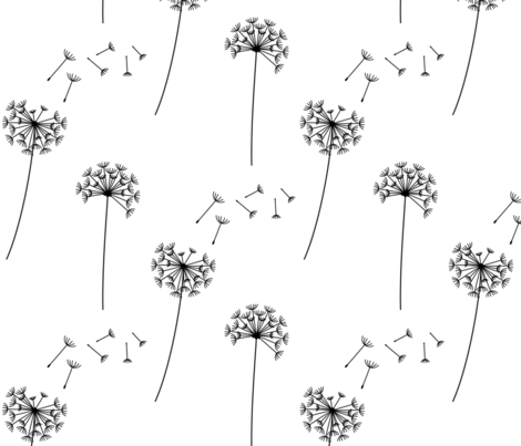 dandelions black and white fabric by misstiina on Spoonflower - custom fabric