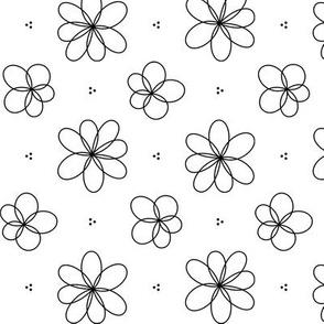 black + white floral