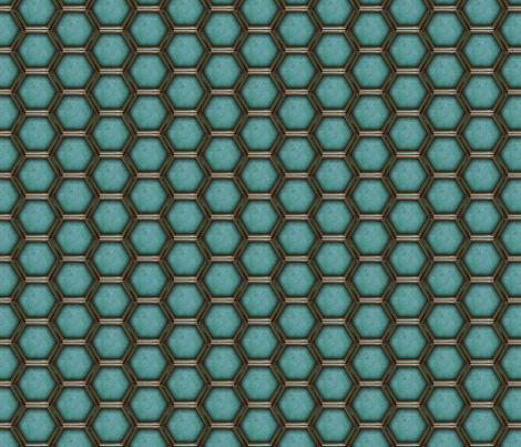 2_inch_HEXes_blue fabric by warmcanofcoke on Spoonflower - custom fabric