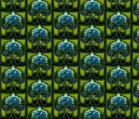 Artnouveau4-blue/green fabric by guylas_coastal_creations on Spoonflower - custom fabric