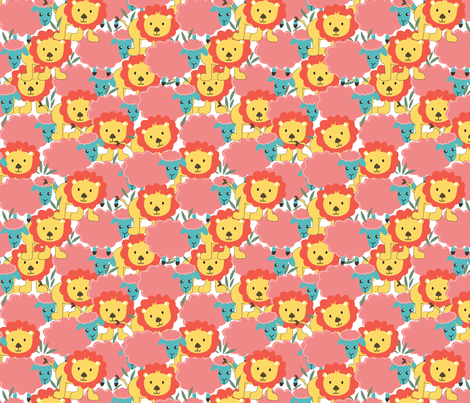lion and lamb fabric by cherished_dreams on Spoonflower - custom fabric