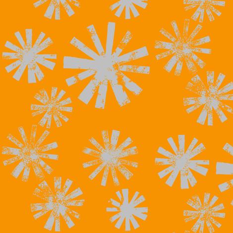 Starburst-gray on orange fabric by cameronhomemade on Spoonflower - custom fabric