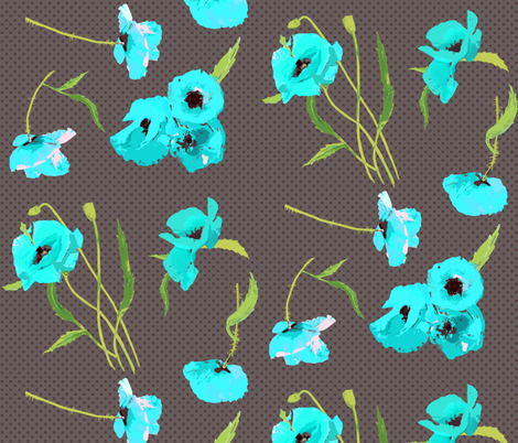 aqua poppies on grey dots fabric by katarina on Spoonflower - custom fabric