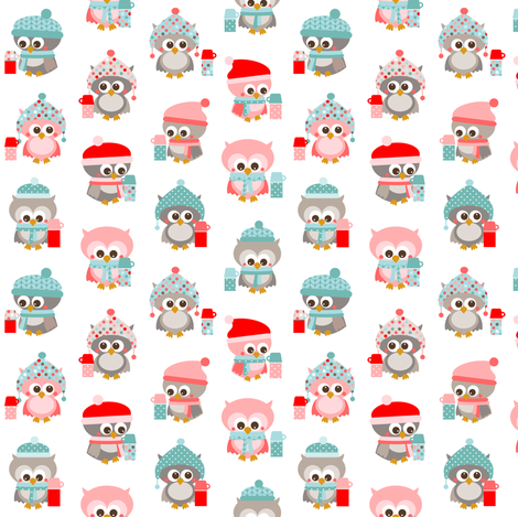 Winter owls scattered fabric by heleenvanbuul on Spoonflower - custom fabric