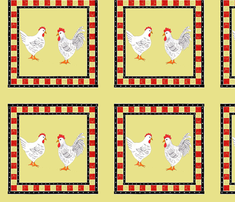 chickens and checks fabric by alyson_chase on Spoonflower - custom fabric