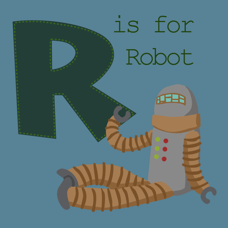 R is for Robot fabric by phantomssiren on Spoonflower - custom fabric