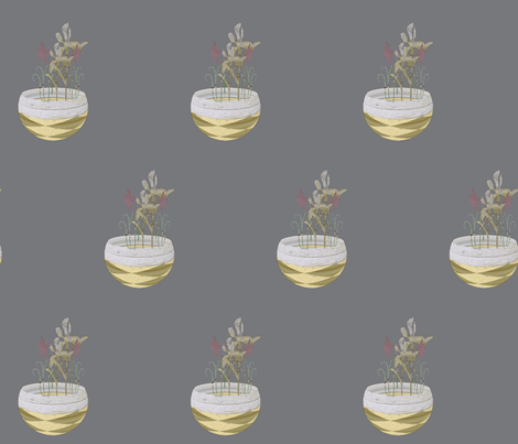 Flowers in Handmade Paper Bowl on Gray fabric by anniedeb on Spoonflower - custom fabric