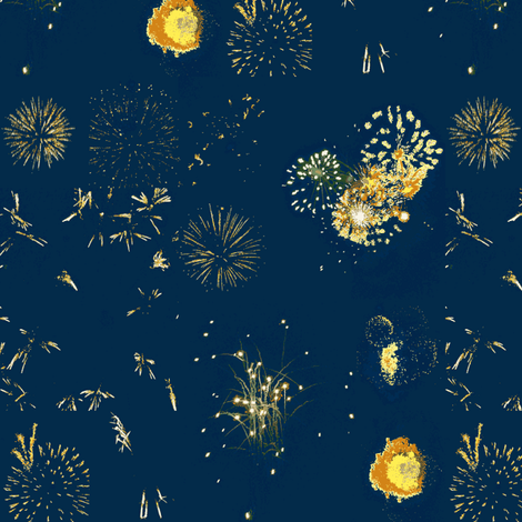 Fireworks (Blue) fabric by ravynscache on Spoonflower - custom fabric