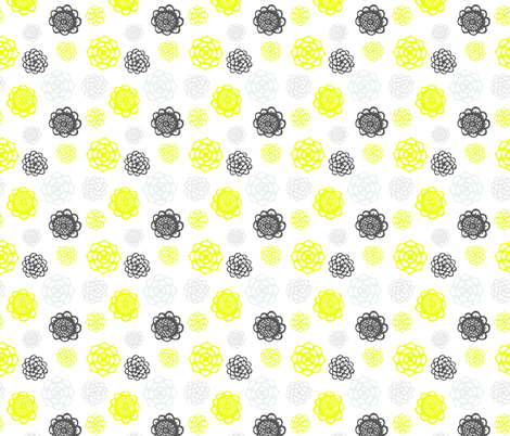 Mom's Kitchen Floral - gray and yellow on white fabric by cameronhomemade on Spoonflower - custom fabric