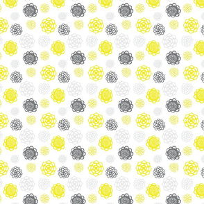 Mom's Kitchen Floral - gray and yellow on white
