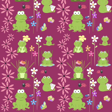 frogs and flowers fabric by krs_expressions on Spoonflower - custom fabric