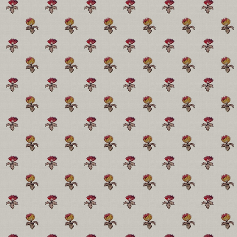 Cream with red and yellow flowers fabric by the_cornish_crone on Spoonflower - custom fabric
